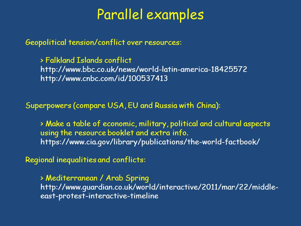 Parallel examples Geopolitical tension/conflict over resources: