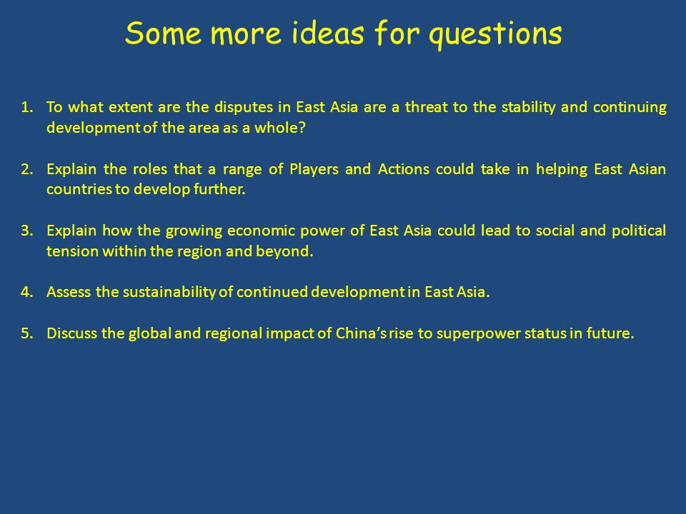 Some more ideas for questions