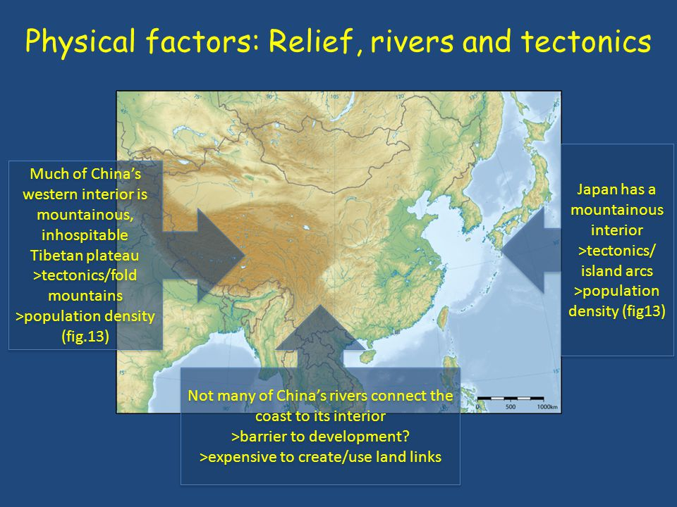Physical factors: Relief, rivers and tectonics