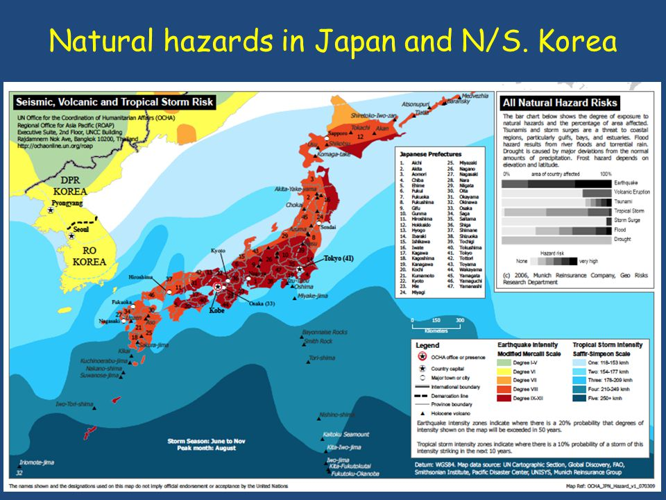 Natural hazards in Japan and N/S. Korea