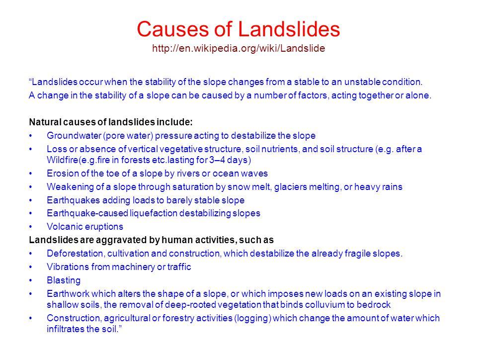Causes of Landslides http://en.wikipedia.org/wiki/Landslide