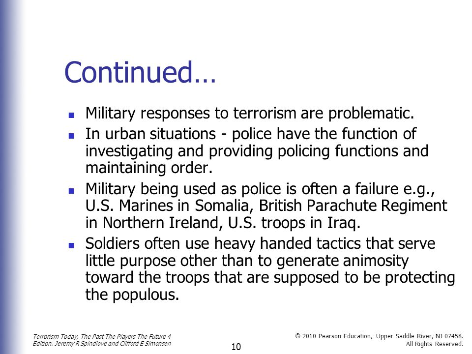 Continued… Military responses to terrorism are problematic.