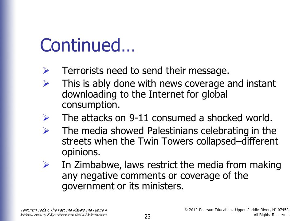 Continued… Terrorists need to send their message.
