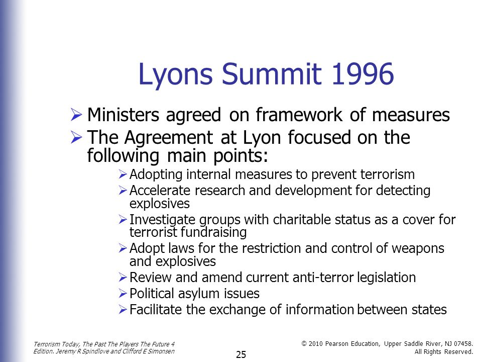 Lyons Summit 1996 Ministers agreed on framework of measures