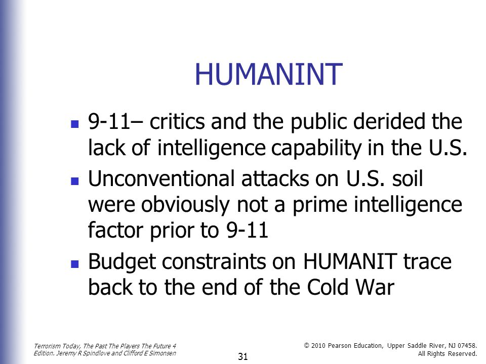 HUMANINT 9-11– critics and the public derided the lack of intelligence capability in the U.S.