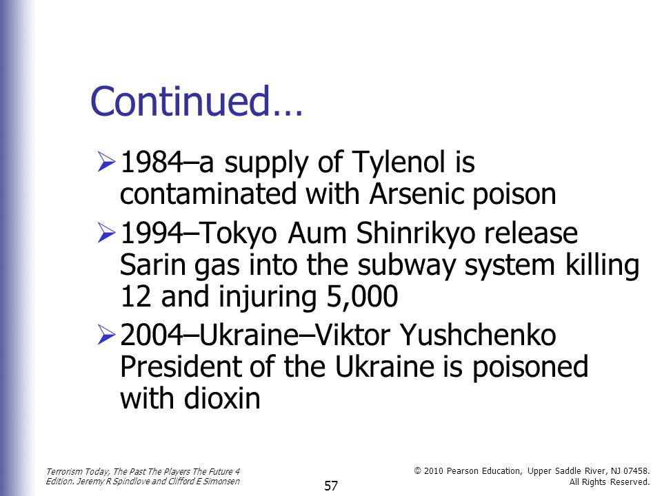 Continued… 1984–a supply of Tylenol is contaminated with Arsenic poison.
