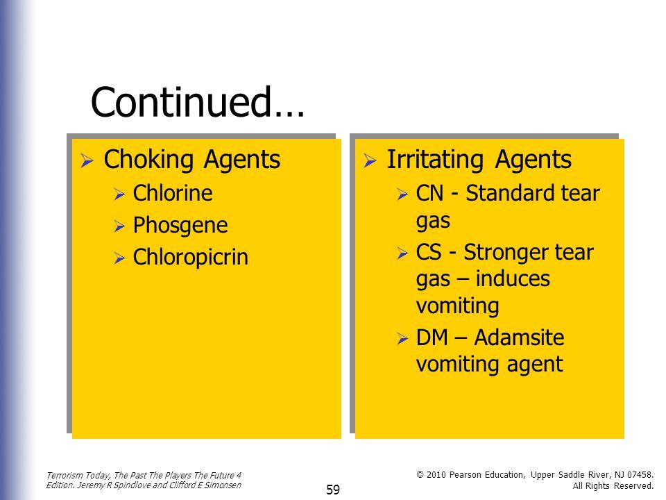 Continued… Choking Agents Irritating Agents Chlorine Phosgene
