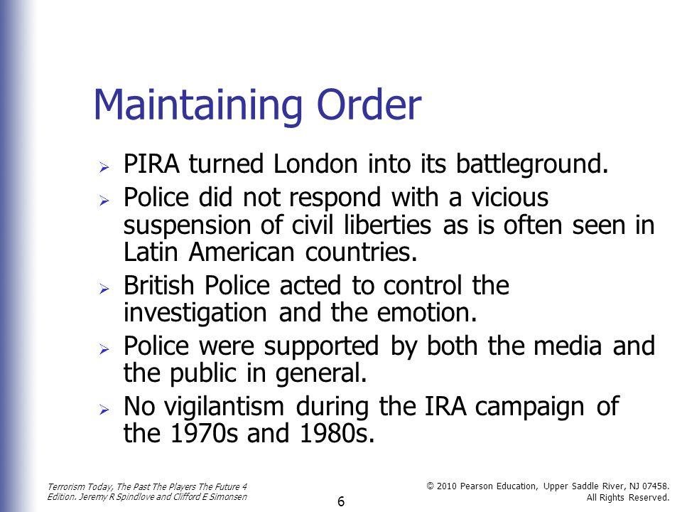 Maintaining Order PIRA turned London into its battleground.