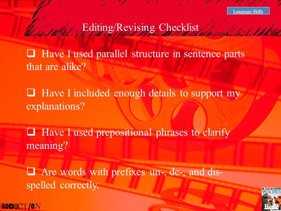 Editing/Revising Checklist