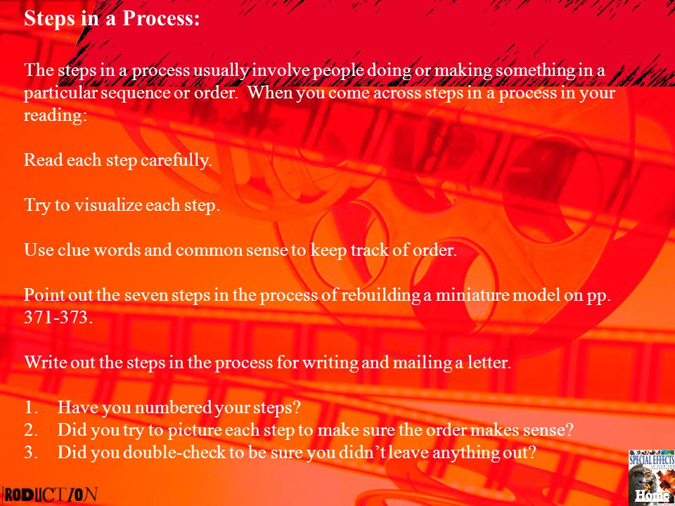 Steps in a Process: