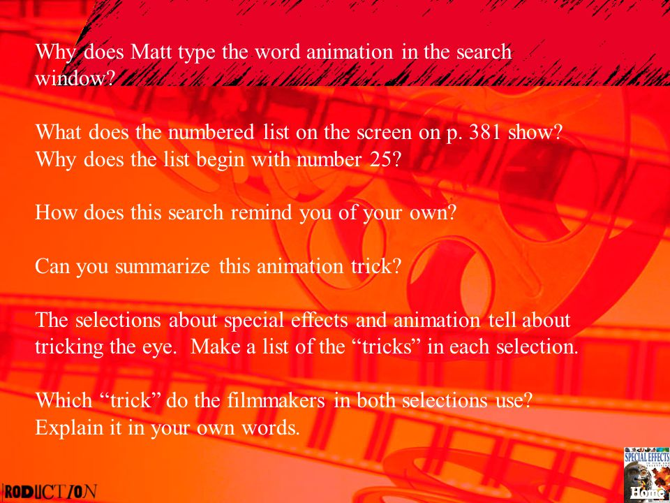 Why does Matt type the word animation in the search window