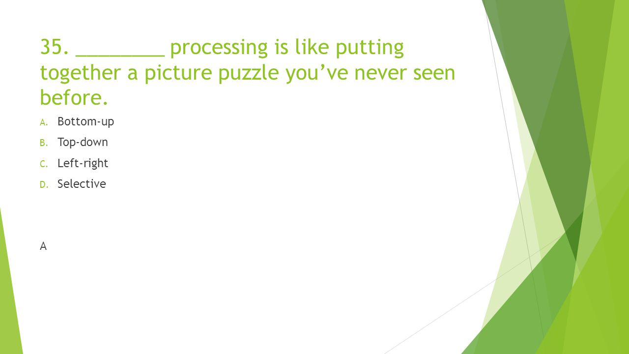 35. ________ processing is like putting together a picture puzzle you've never seen before.