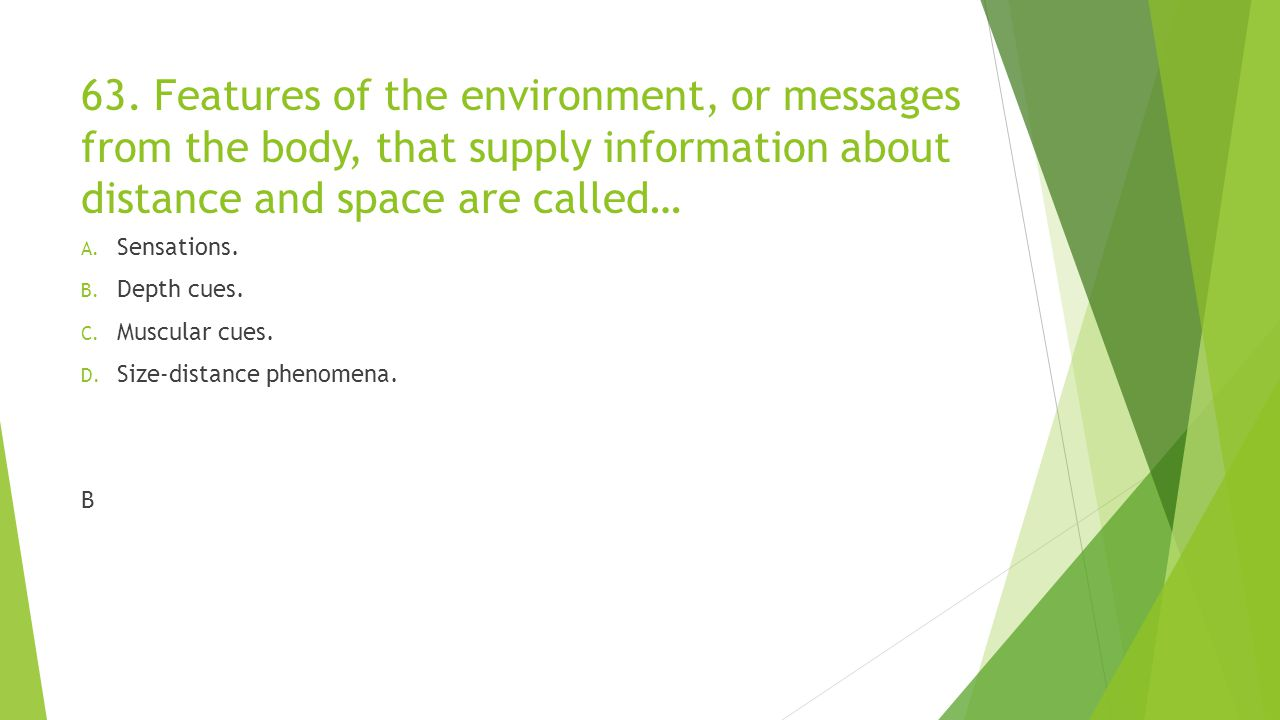 63. Features of the environment, or messages from the body, that supply information about distance and space are called…