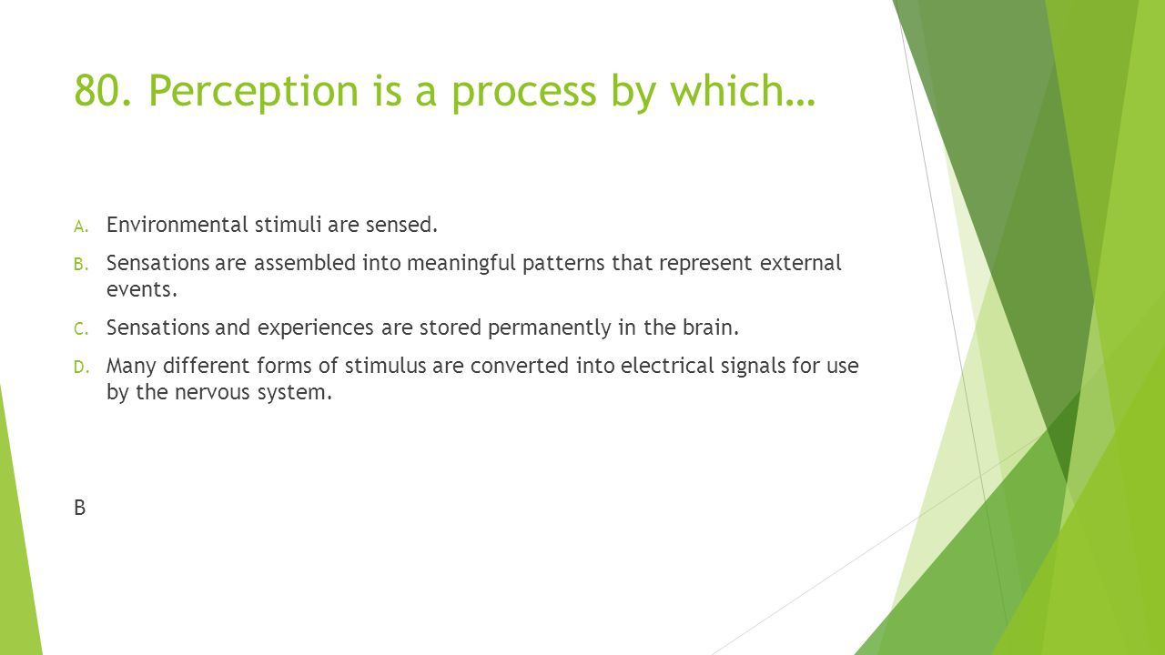 80. Perception is a process by which…