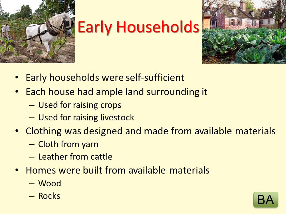 Early Households BA Early households were self-sufficient