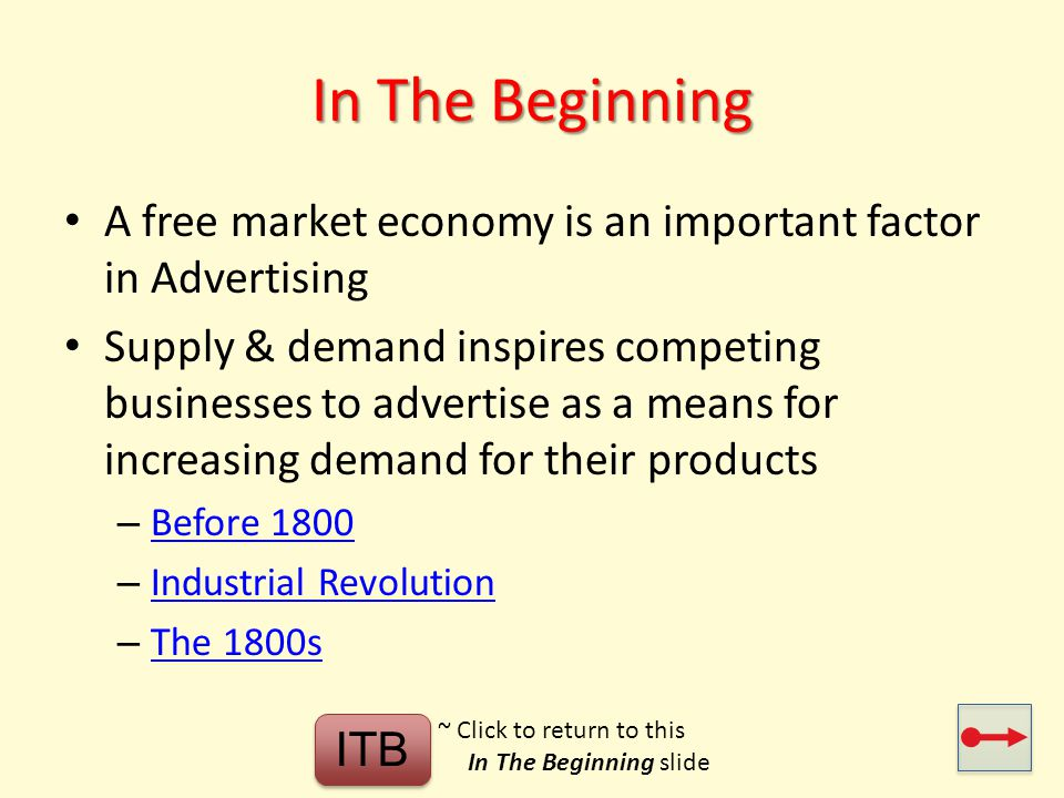 In The Beginning A free market economy is an important factor in Advertising.