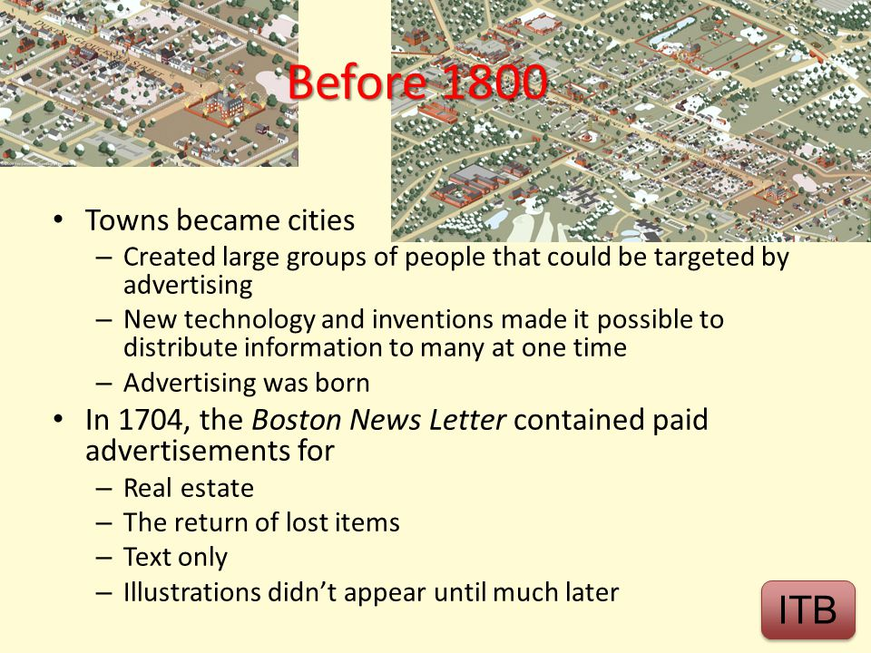 Before 1800 ITB Towns became cities