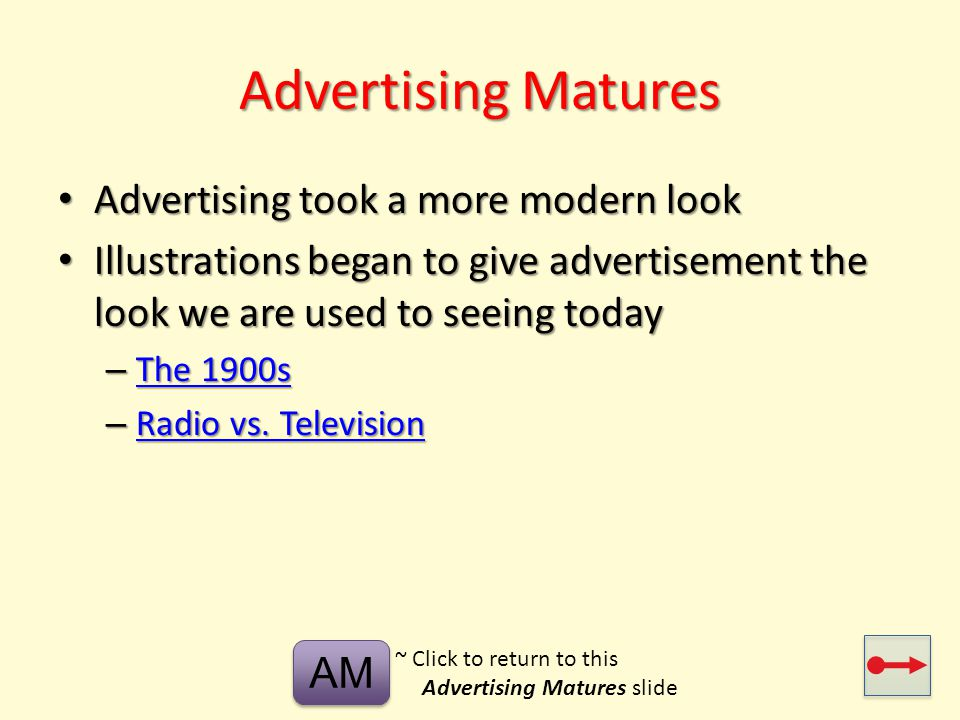 Advertising Matures Advertising took a more modern look