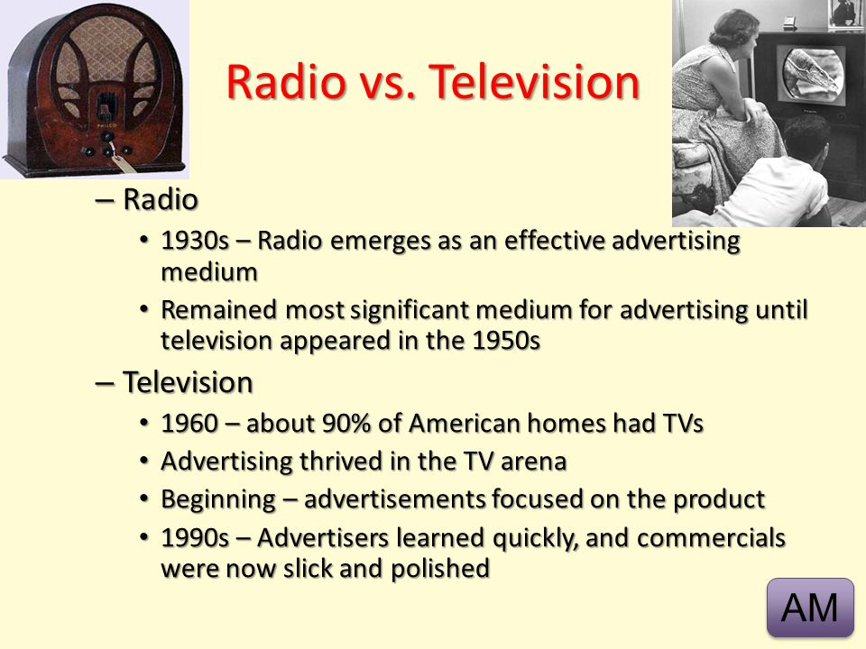 Radio vs. Television AM Radio Television