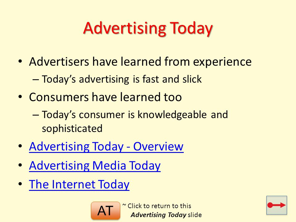 Advertising Today Advertisers have learned from experience