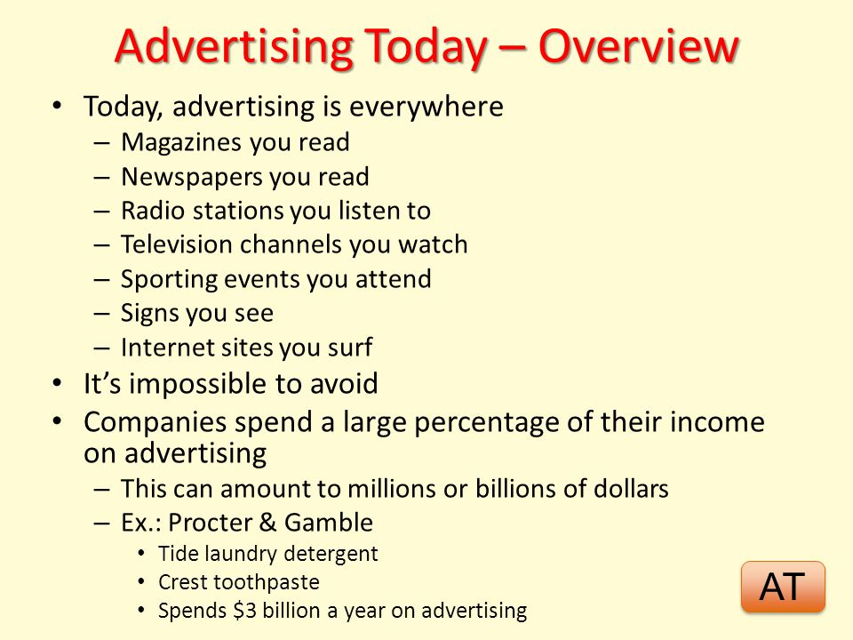 Advertising Today – Overview
