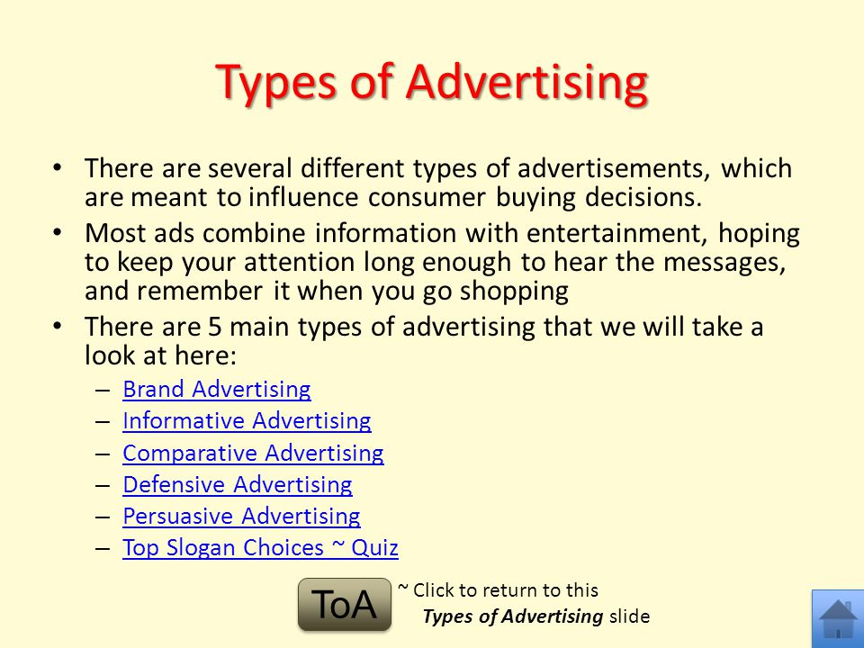 Types of Advertising ToA