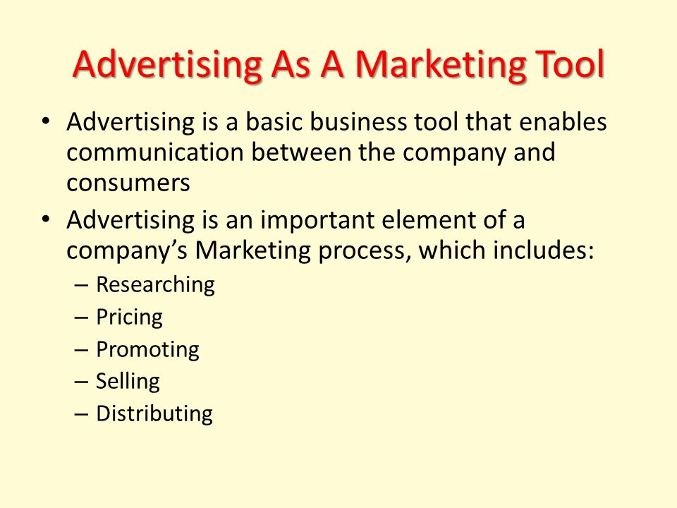 Advertising As A Marketing Tool