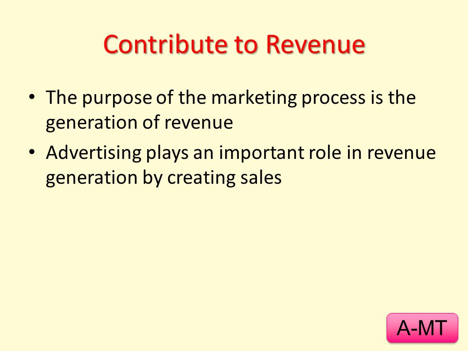 Contribute to Revenue The purpose of the marketing process is the generation of revenue.