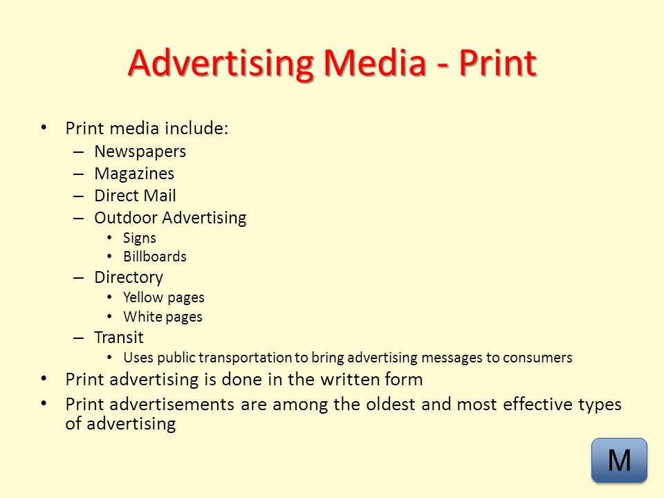 Advertising Media - Print