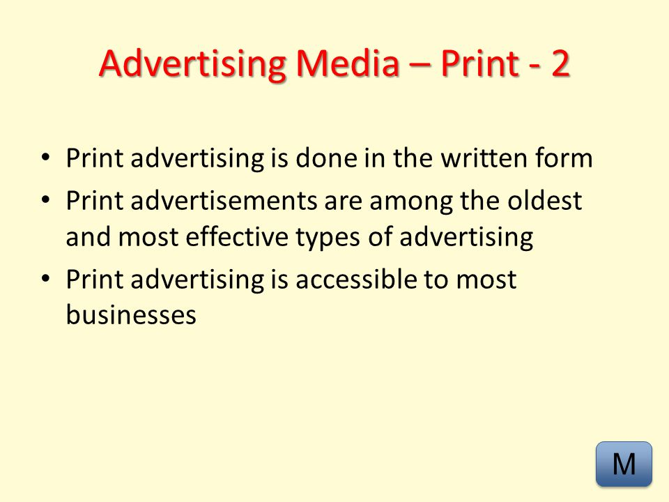 Advertising Media – Print - 2