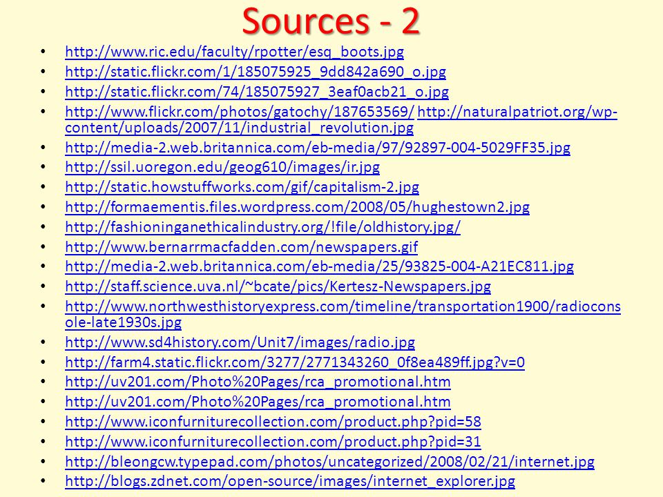 Sources - 2 http://www.ric.edu/faculty/rpotter/esq_boots.jpg