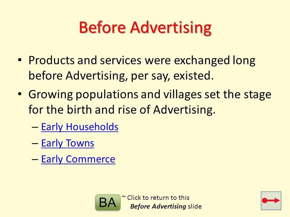 Before Advertising Products and services were exchanged long before Advertising, per say, existed.
