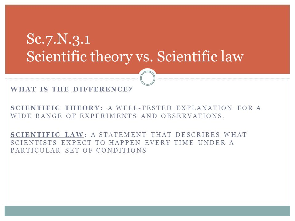 Sc.7.N.3.1 Scientific theory vs. Scientific law