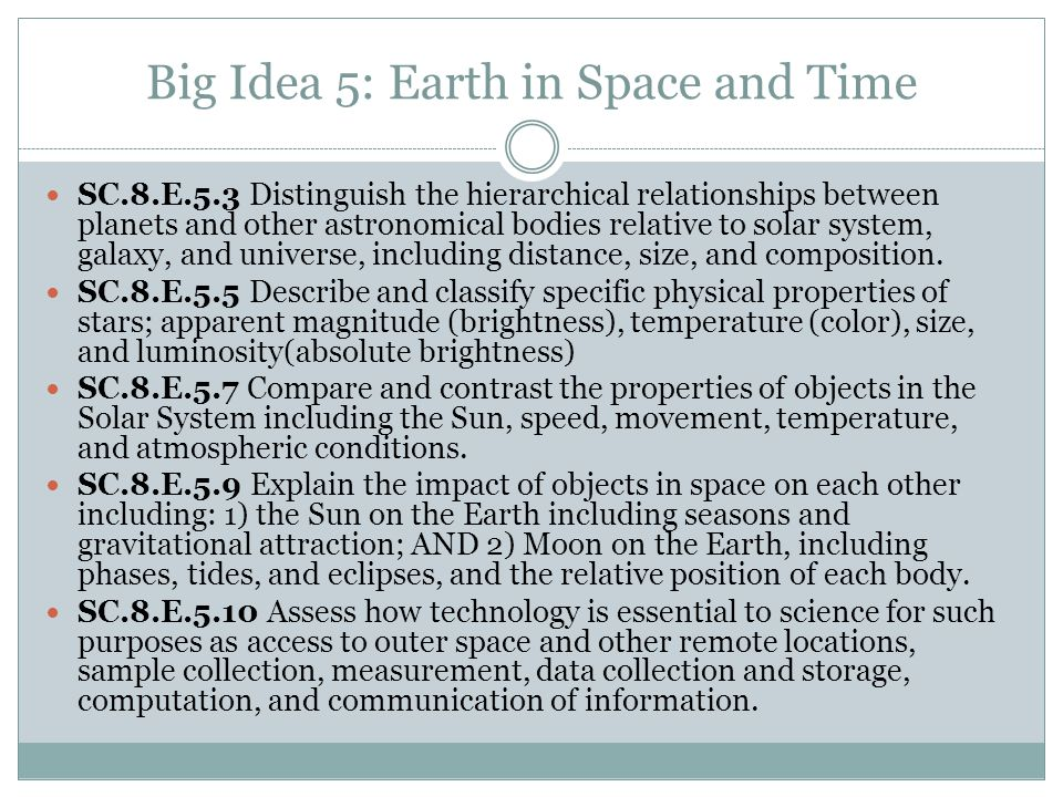 Big Idea 5: Earth in Space and Time