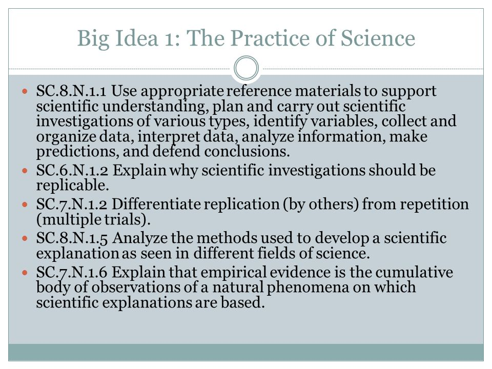 Big Idea 1: The Practice of Science