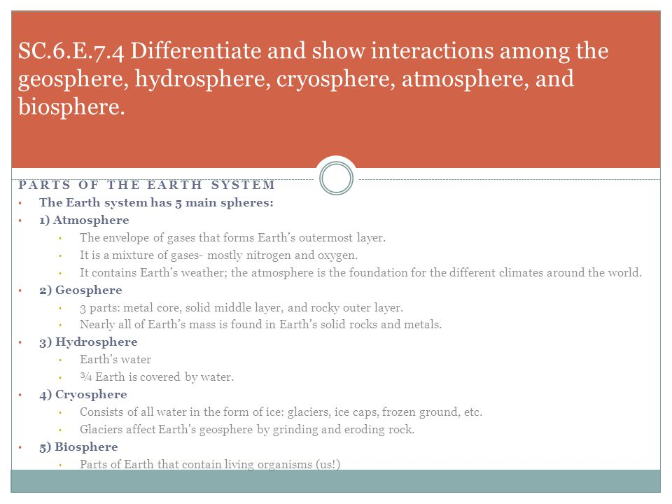 SC.6.E.7.4 Differentiate and show interactions among the geosphere, hydrosphere, cryosphere, atmosphere, and biosphere.