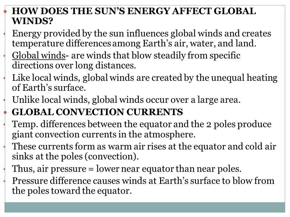 How does the Sun's Energy Affect global winds
