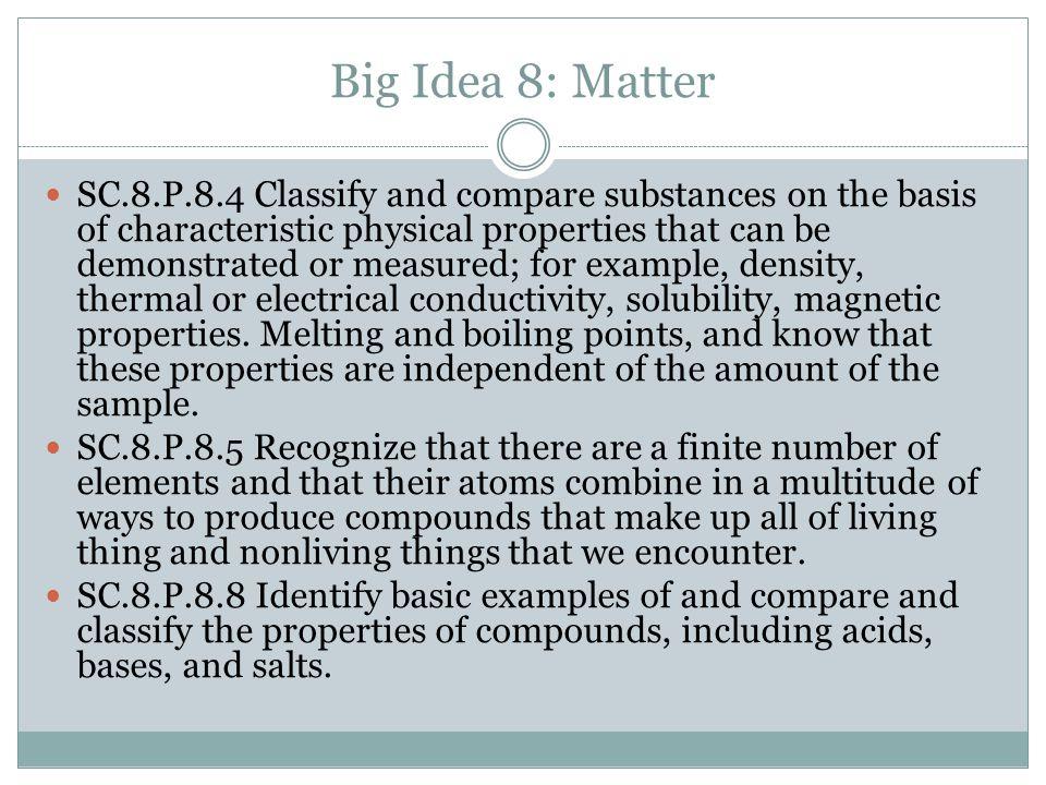 Big Idea 8: Matter