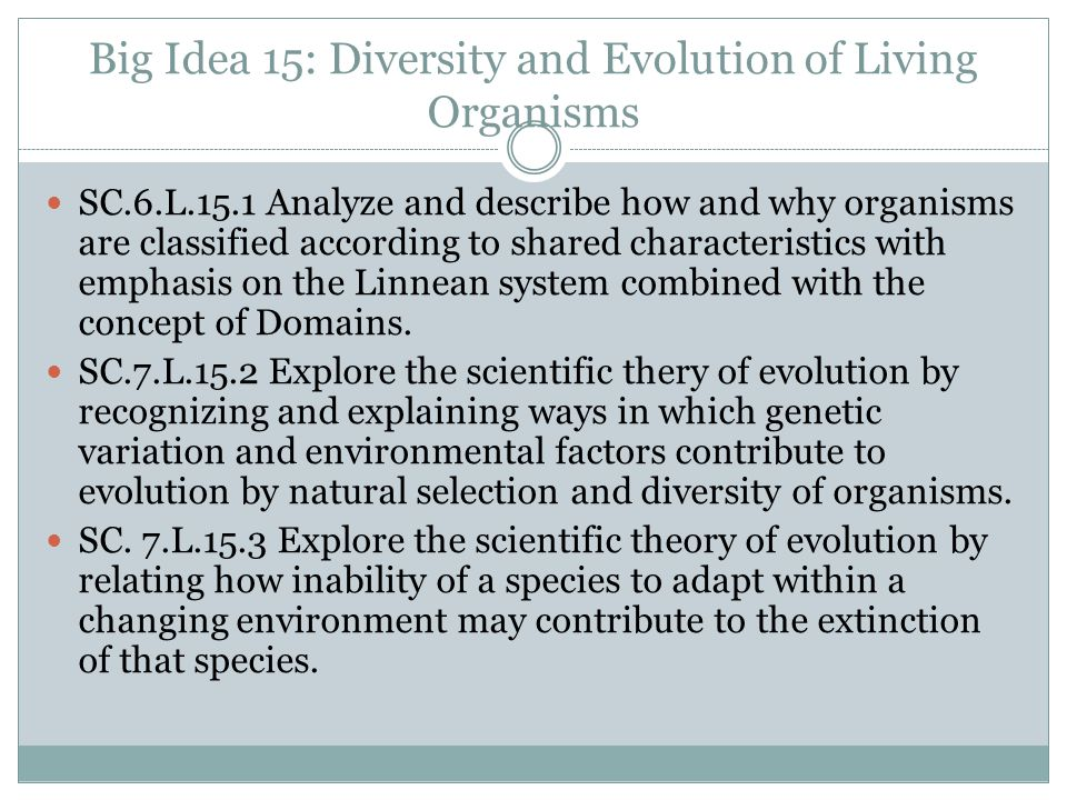 Big Idea 15: Diversity and Evolution of Living Organisms