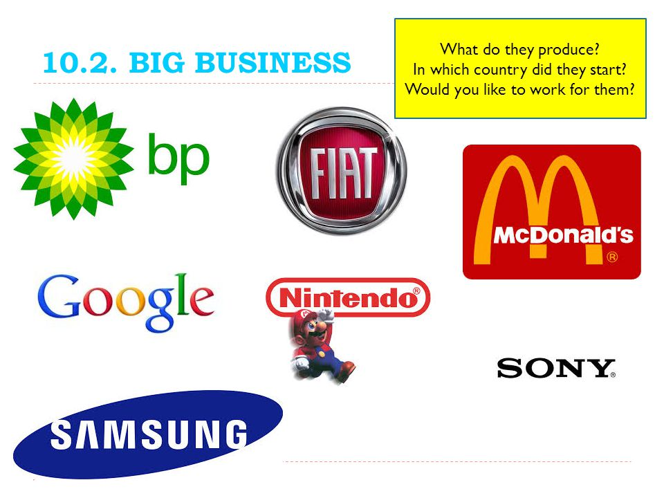 10.2. BIG BUSINESS What do they produce