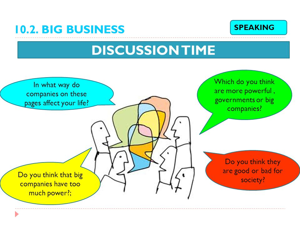 DISCUSSION TIME 10.2. BIG BUSINESS SPEAKING