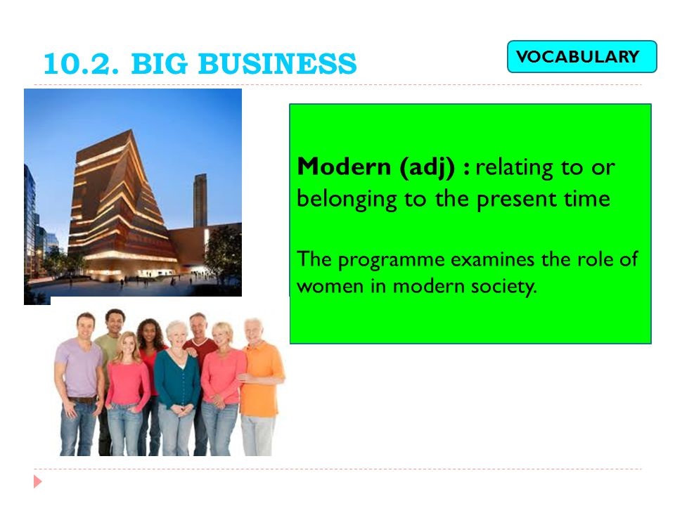 10.2. BIG BUSINESS VOCABULARY. Modern (adj) : relating to or belonging to the present time.