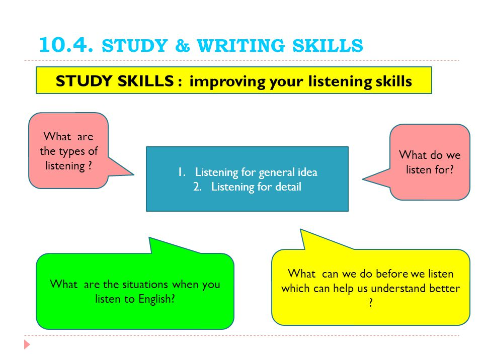 STUDY SKILLS : improving your listening skills