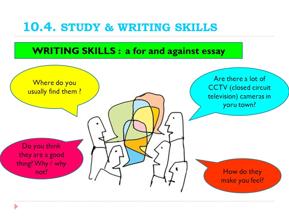 WRITING SKILLS : a for and against essay
