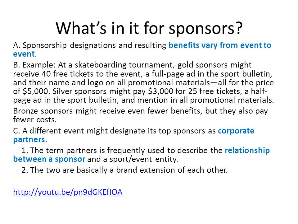 What's in it for sponsors