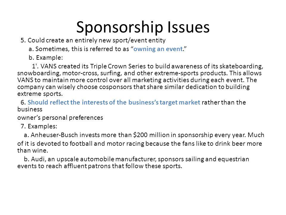 Sponsorship Issues