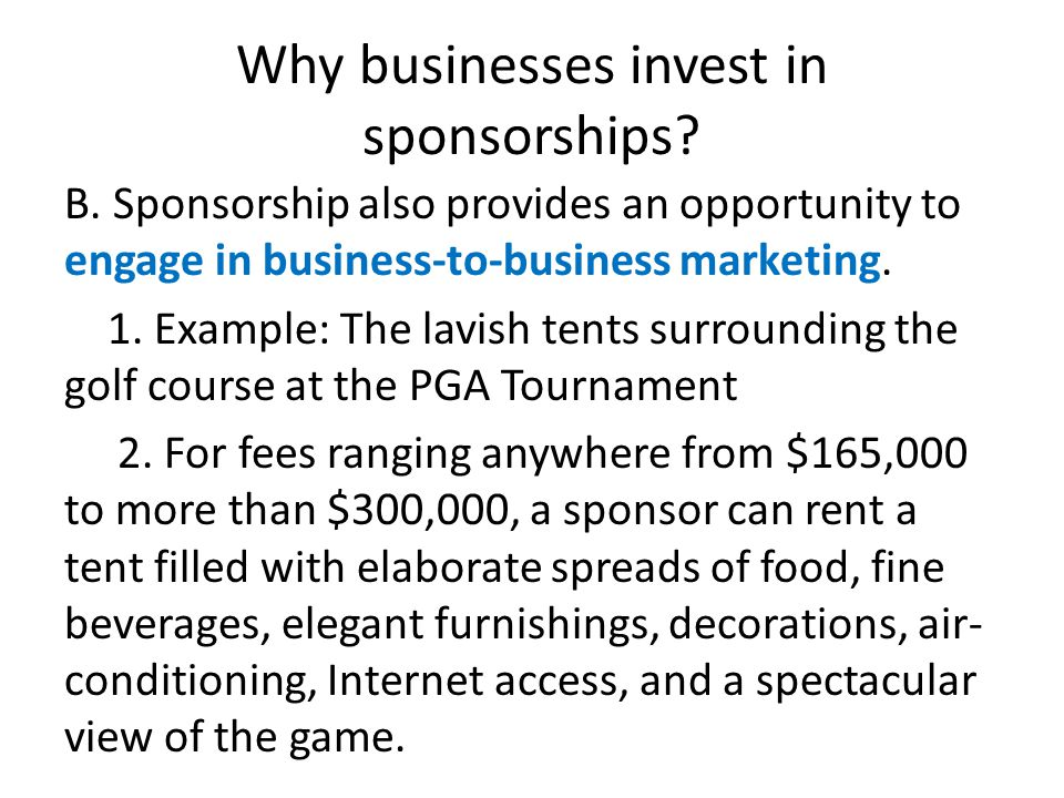 Why businesses invest in sponsorships