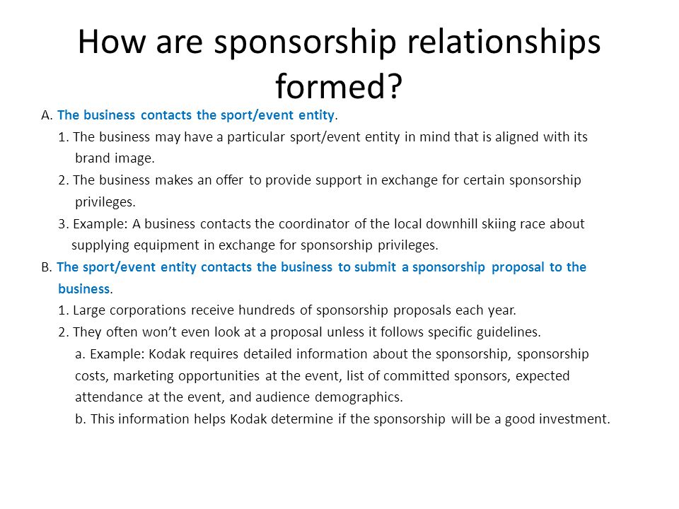 How are sponsorship relationships formed