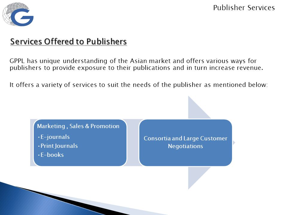 Services Offered to Publishers