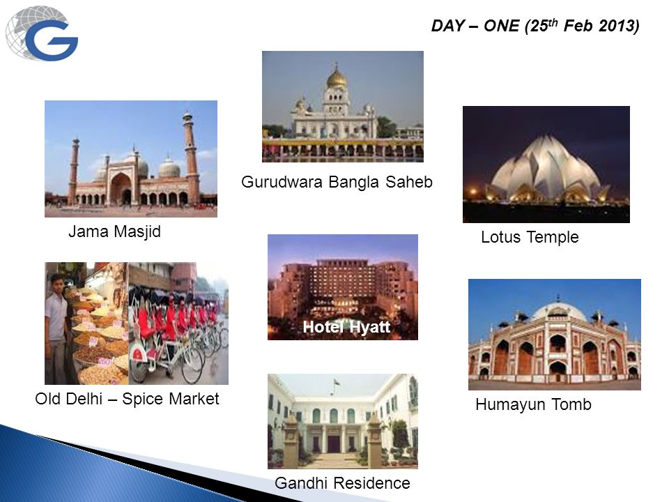 DAY – ONE (25th Feb 2013) Gurudwara Bangla Saheb. Jama Masjid. Lotus Temple. Hotel Hyatt. Old Delhi – Spice Market.
